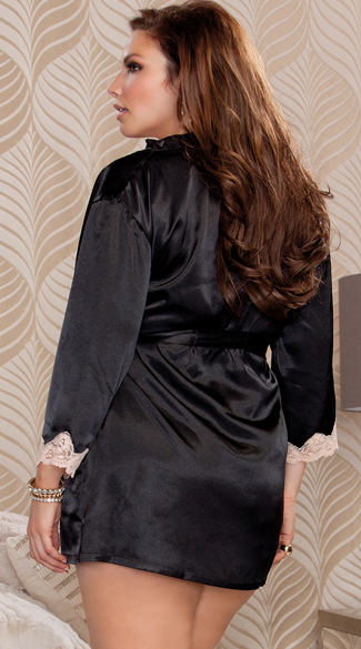 Plus Size Silky Satin and Lace Robe