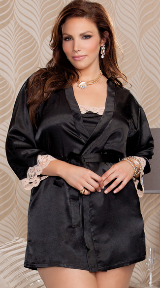 Plus Size Silky Satin and Lace Robe, Black Satin Robe, Lingerie Robe
