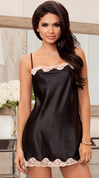 Satin and Lace Chemise, Silky Chemise, Black Chemise