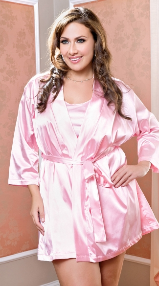 Plus Size Satin Robe with Matching Sash, Plus Size Robe, Plus Size Satin Lingerie Robe