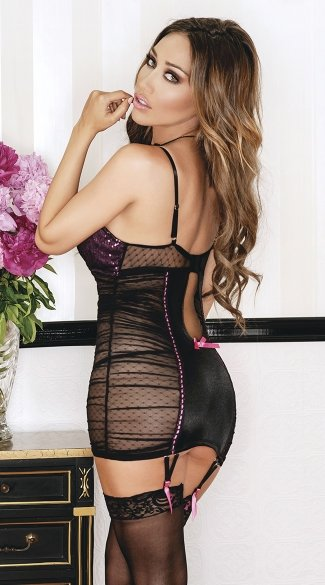 Dotted Mesh and Satin Chemise