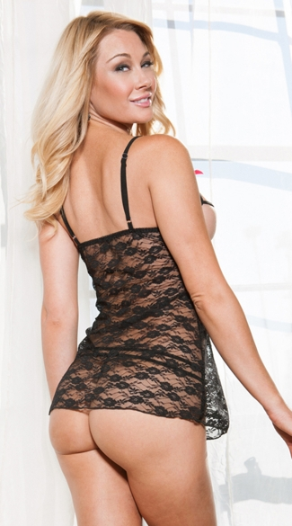 Black Lace Strappy Cup Chemise