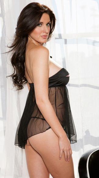 Stretch Satin Strapless Babydoll and Thong