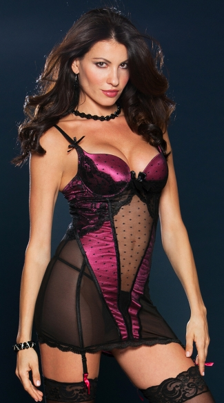 Dot Mesh and Lace Chemise Set