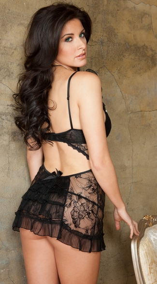 Ruffled Bow and Pearl Lace Chemise Set