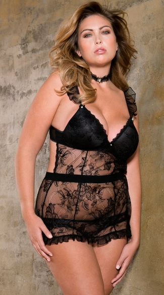 Plus Size Lace and Ruffle Babydoll with Panty