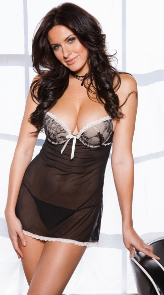 Naughty And Nice Mesh Babydoll with G-String