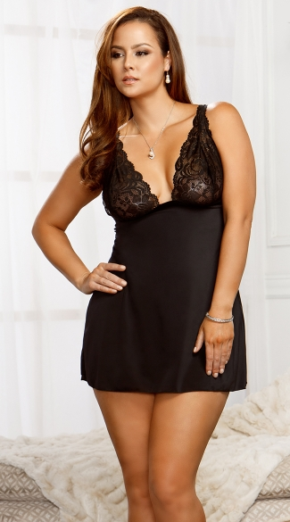 Plus Size Sexy Side Slit Microfiber Babydoll with G-String