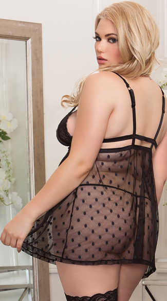 Plus Size Empire Waist Mesh Babydoll