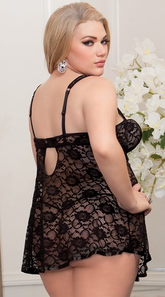 Plus Size High Neck Lace Babydoll