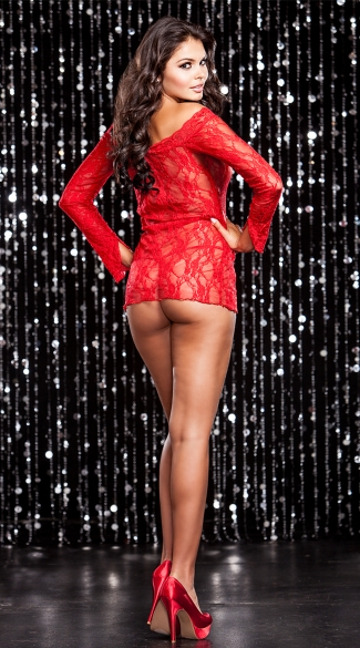 Stretch Lace Off The Shoulder Chemise And G-string