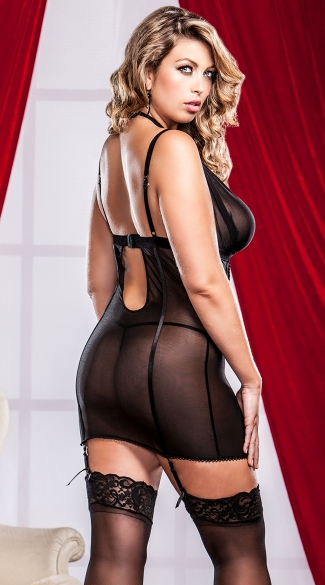 Plus Size Metallic Lace and Mesh Chemise