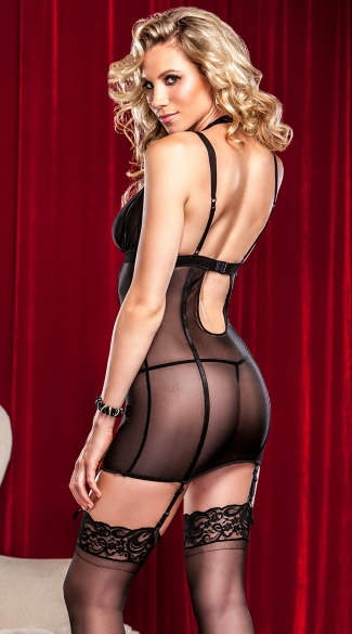 Metallic Lace and Mesh Chemise
