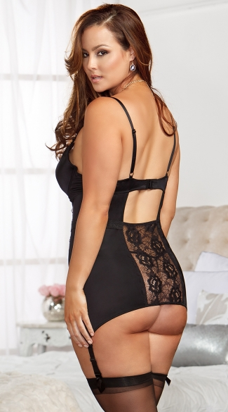 Plus Size Bodycon Lace Cami with Garters and G-String
