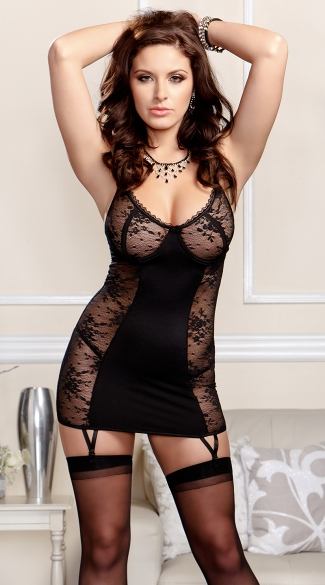 Soft Cup Two Tone Chemise Set with Garters