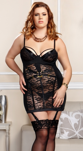 Plus Size Bondage Babe Chemise and Garter Set