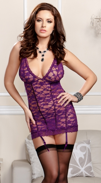 Purple Dream Lace Chemise Set with G-String