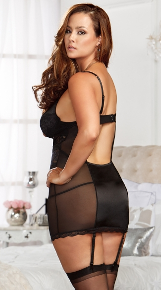 Plus Size Naughty In Lace Chemise with G-String