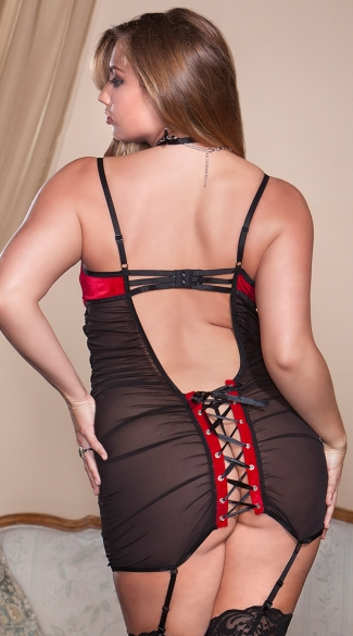 Plus Size Red Velvet and Ruched Mesh Chemise