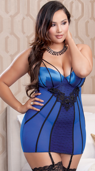 Plus Size Multi Strapped Blue Chemise