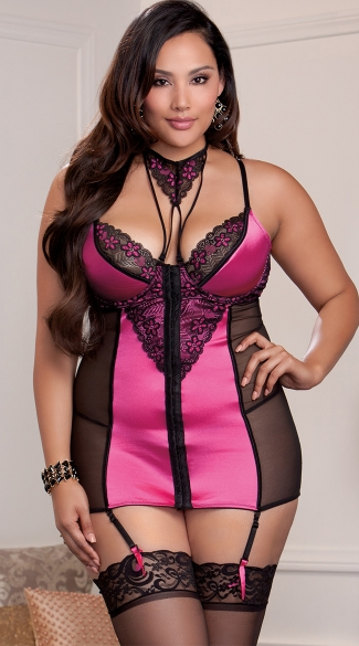 Plus Size Floral Pink Chemise And Choker Set, Plus Size Sexy Black And Pink Chemise, Plus Size Pink Floral Mesh Lingerie