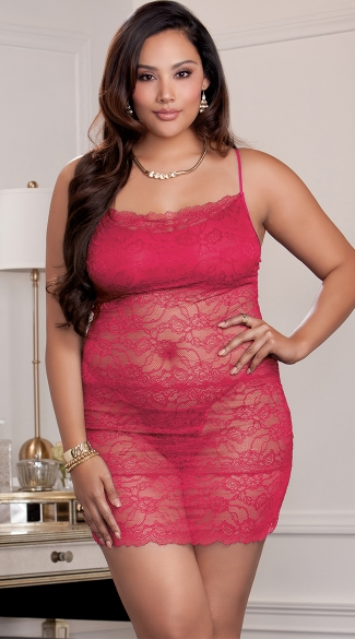 Plus Size Red Hot Lace Chemise, Plus Size Sexy See Through Red Chemise, Plus Size Seductive Red Nighties