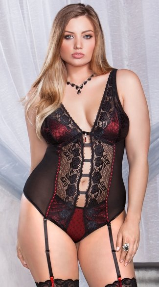 Plus Size Rose Lace Teddy with Garters