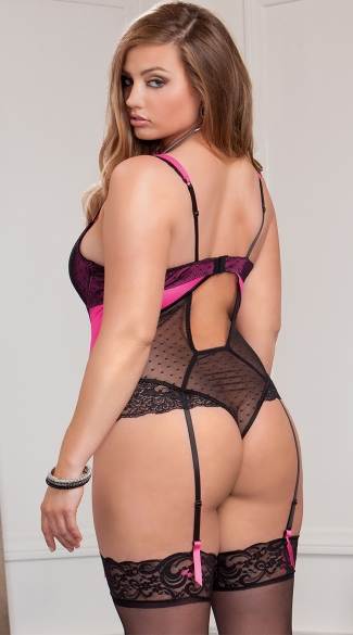 Plus Size Tempt Me Lace Teddy