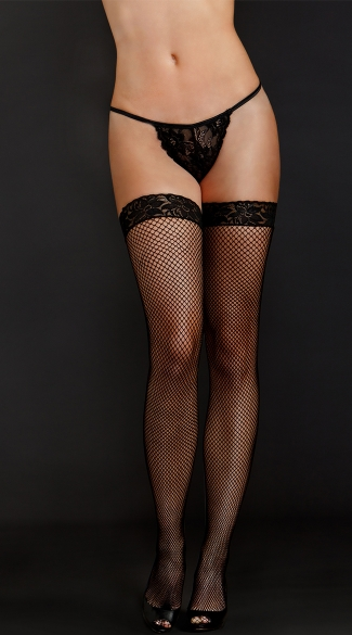 Fishnet and Lace Top Thigh Highs, Net Lace Top Stockings