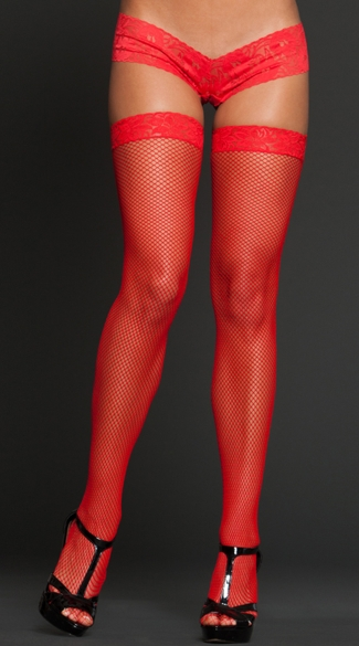 Fishnet and Lace Top Thigh Highs
