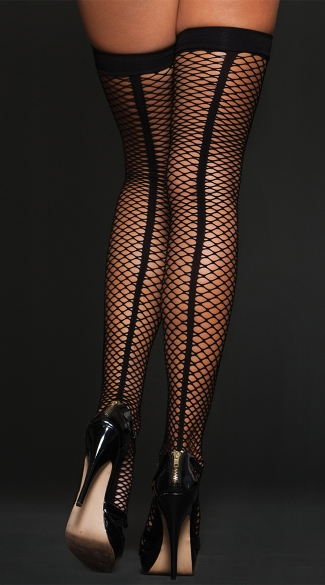 Fishnet Cuban Heel Thigh Highs