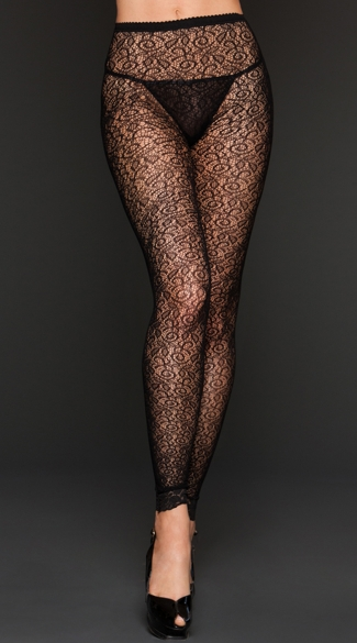 Ivy Footless Tights, Black Patterned Tights