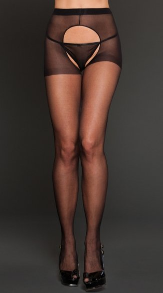 Sheer Spandex Crotchless Pantyhose, Crotchless Black Pantyhose