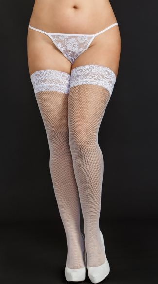 Plus Size Mini Diamond White Fishnet Thigh Highs