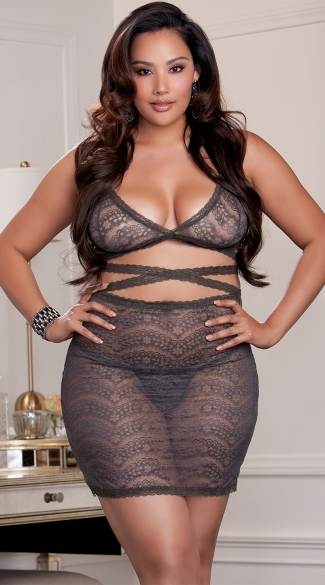 Plus Size Sexy Mysterious Bralette And Skirt Set, Plus Size Sexy Silver Outfits, Plus Size Silver Lace Skirt