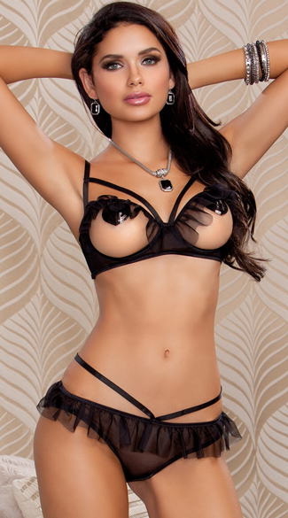 Ruffle Open Cup Bra and Panty Set