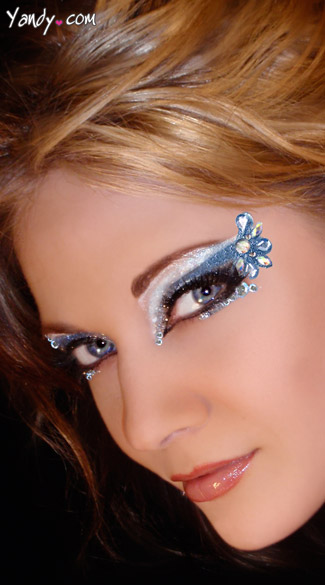 Isis Eye Kit, Blue Flower Eye Stickers, Blue Glitter Eye Art