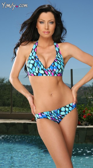 Blue Flame Bikini, Blue and Pink Patterned Swimsuit, Patterned Blue Bikini, Teal Blue Bikini, Blue Swimwear