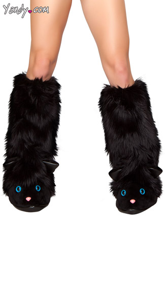 Black Cat Faux Fur Legwarmers