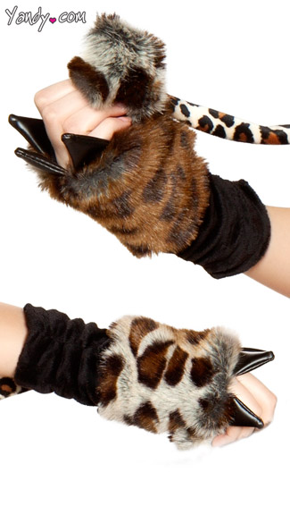Leopard Print Faux Fur Gloves, Leopard Gloves
