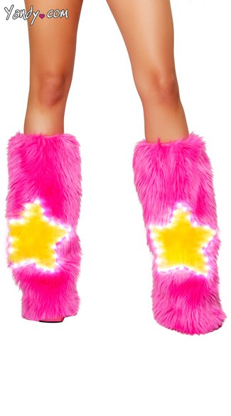 Light Up Pink Star Legwarmers, Star Leg Warmers, Pink Furry Legwarmers