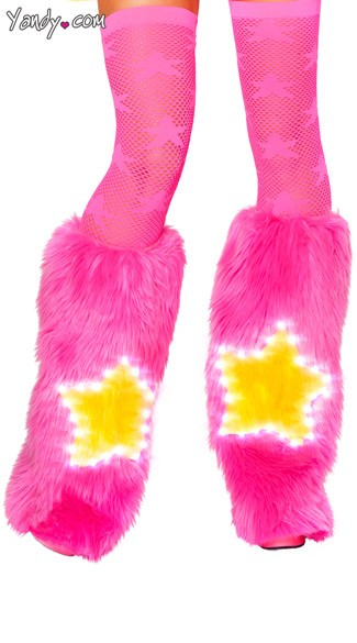 Light-Up Pink Star Legwarmers