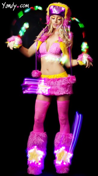Shining Star Raver Set, Faux Fur Raver Set, Star Print Rave Costume