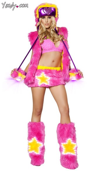 Pink Faux Fur Star Girl Set, Faux Fur Raver Girl Set, Pink Fur Vest