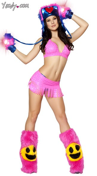 Pink Fringe Raver Girl Set, Pink Ravwear, Pink Furry Rave Wear