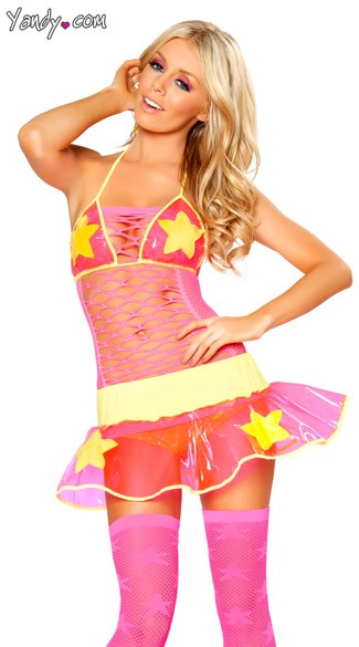 Pink and Yellow Star Skirt and Top, Pink Plastic Skirt, Vinyl Lingerie, Plastic Lingerie