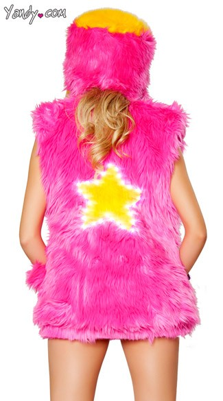 Light Up Star Faux Fur Vest, Light Up Vest, Star Print Vest