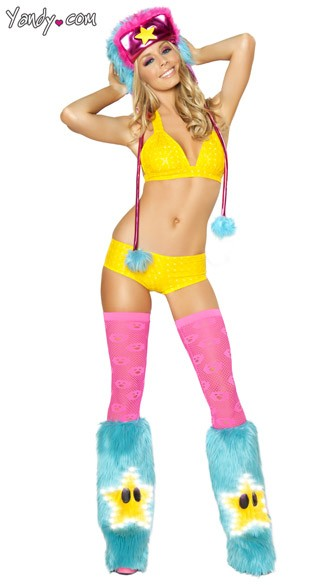 Super Star Ravewear Set, Rave Wear Bikini, Furry Ravewear Set
