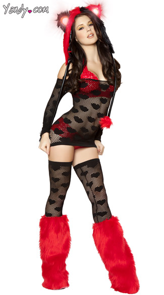 Racy Red Raver Set, Black and Red Ravewear, Red Ravewear Costume