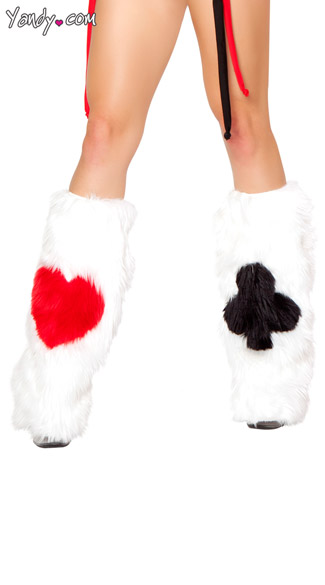 Faux Fur Card Legwarmers, Playing Card Legwarmers, Card Print Leg Warmers